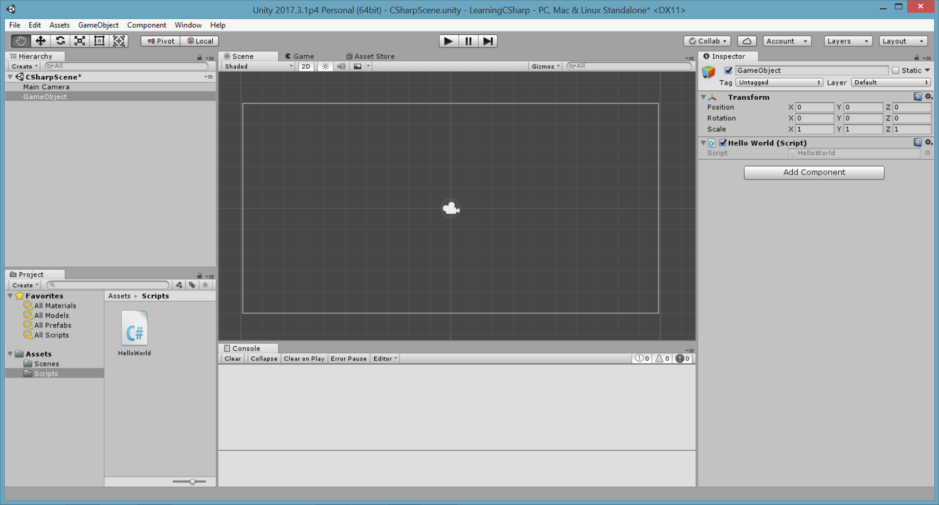 Unity Tutorial. C Sharp (C#). Unity Editor Interface Image from Ackosmic Games